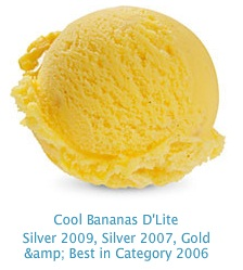 Cool Bananas D'Lite - 97% fat free, real banana pieces, blended with vanilla beans and low fat banana ice cream